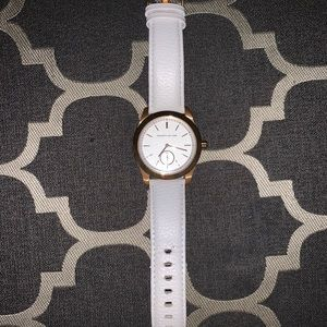 Kenneth Jay Lane white leather watch